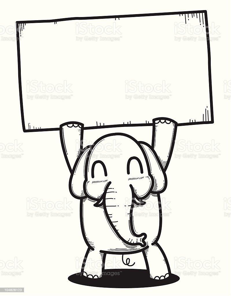 cartoon elephant holding a blank banner stock vector art 104828123