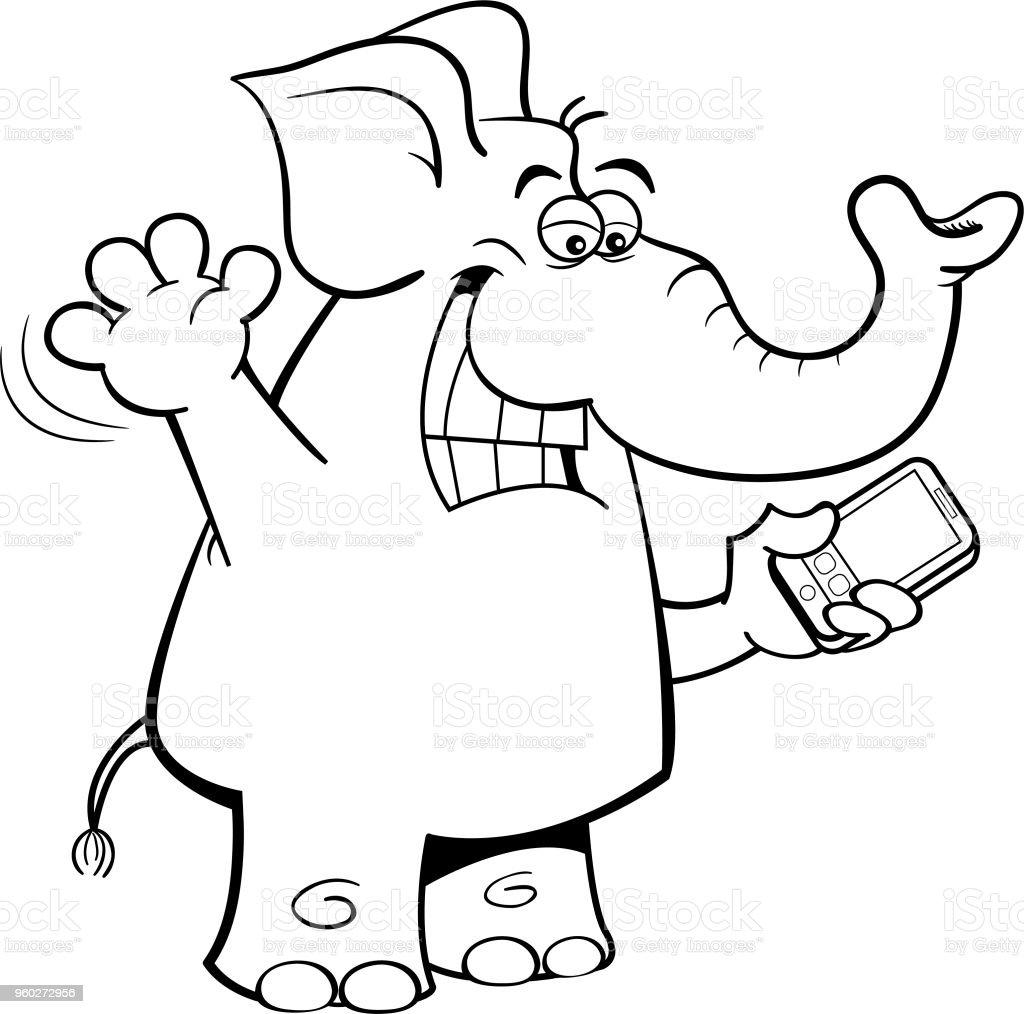 Cartoon elephant holding a cell phone. vector art illustration