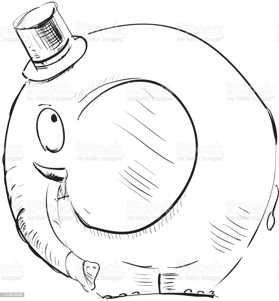 Cartoon elephant in top-hat royalty-free cartoon elephant in tophat stock vector art & more images of art product
