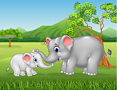 Illustration of Cartoon elephant mother and calf bonding relationship in the jungle