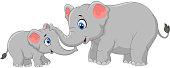 Cartoon elephant mother and calf bonding relationship