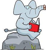 Cartoon Elephant Reading