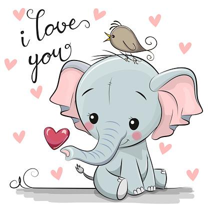 Cartoon Elephant with Heart on white background