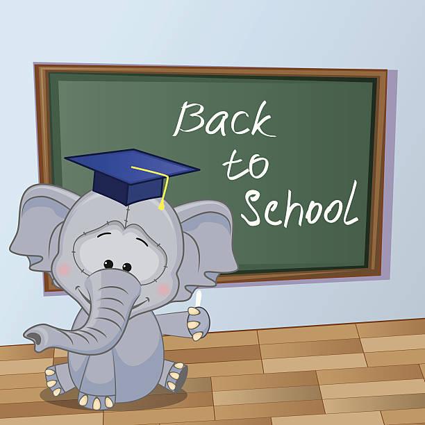 kreskówka słoń napisał w klasie - back to school stock illustrations