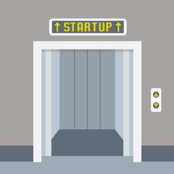 cartoon elevator or lift with open doors,startup concept, - hotel reception stock illustrations