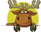Funny cartoon elk. Background on another layer. JPEG format (3824x2839) is also included.