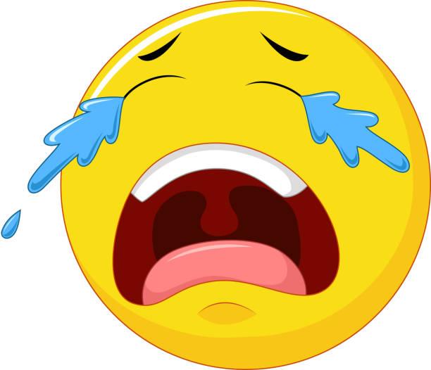 Cartoon Emoticon Crying Isolated On White Background Vector Art Illustration