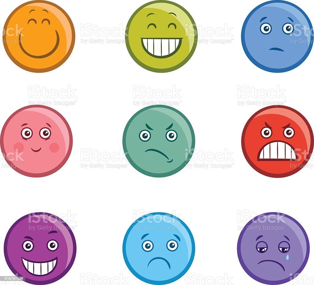 cartoon emoticons faces set vector art illustration