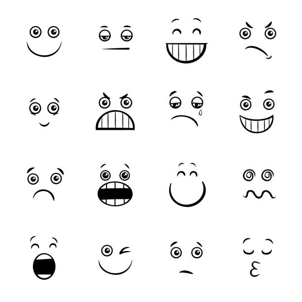 cartoon emoticons or facial emotions collection - toothy smile stock illustrations