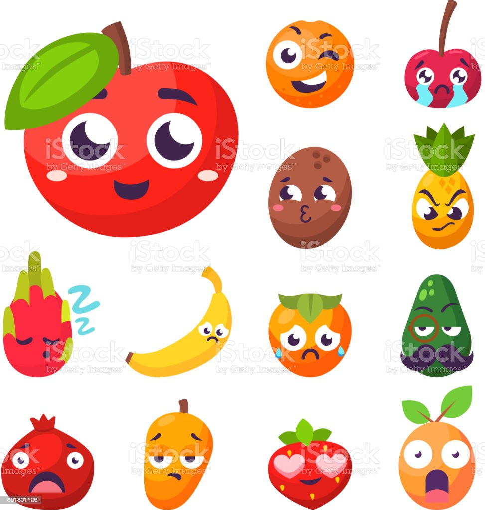 Cartoon emotions fruit characters natural food vector smile nature happy expression juicy mascot tasty design vector art illustration