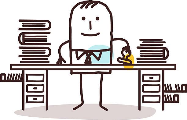 cartoon employee man working at his desk vector hand drawn cartoon characters - employee man working at his desk civil servant stock illustrations