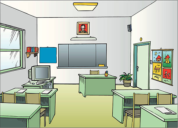 Royalty Free Empty Classroom Clip Art, Vector Images ...
