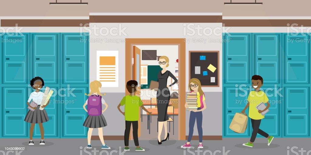 Cartoon empty School interior and open door in classroom vector art illustration