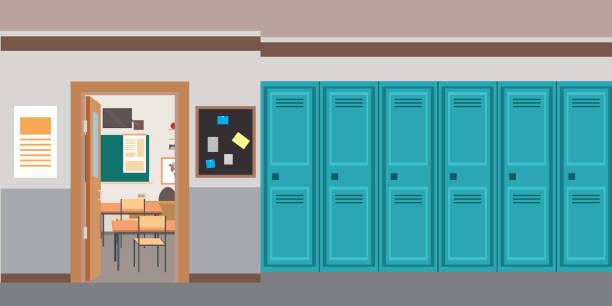 illustrations, cliparts, dessins animés et icônes de dessin animé vide intérieur de l'école et ouvrir la porte dans la salle de classe. - entrée