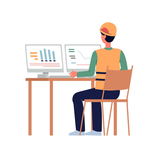 bildbanksillustrationer, clip art samt tecknat material och ikoner med serieingenjör eller byggnadsarbetare tittar på datorskärmar - man architect computer