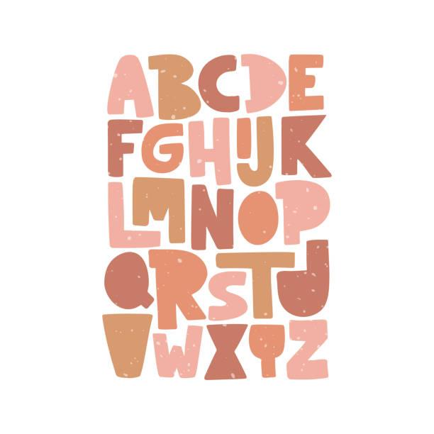 Cartoon English alphabet. ABC. Funny hand drawn graphic font. Cartoon English alphabet. ABC. Funny hand drawn graphic font. Color uppercase letters. Design for typography poster, card. Fun modern vector illustration alphabet drawings stock illustrations