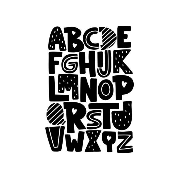 Cartoon English alphabet. Fun modern vector illustration Cartoon English alphabet. ABC. Funny hand drawn graphic font. Uppercase letters. Design for typography poster, card. Fun modern vector illustration alphabet drawings stock illustrations