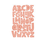 Cartoon English alphabet. ABC. Funny hand drawn graphic font. Color uppercase letters. Design for typography poster, card. Fun modern vector illustration
