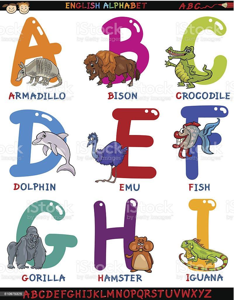 カットイラスト英語アルファベットと動物 - アルファベットのベクター