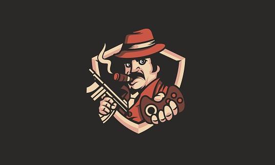 Cartoon E-Sport Gaming Mafia Mascot