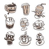 A set of 9 espresso icons in funny cartoon style.