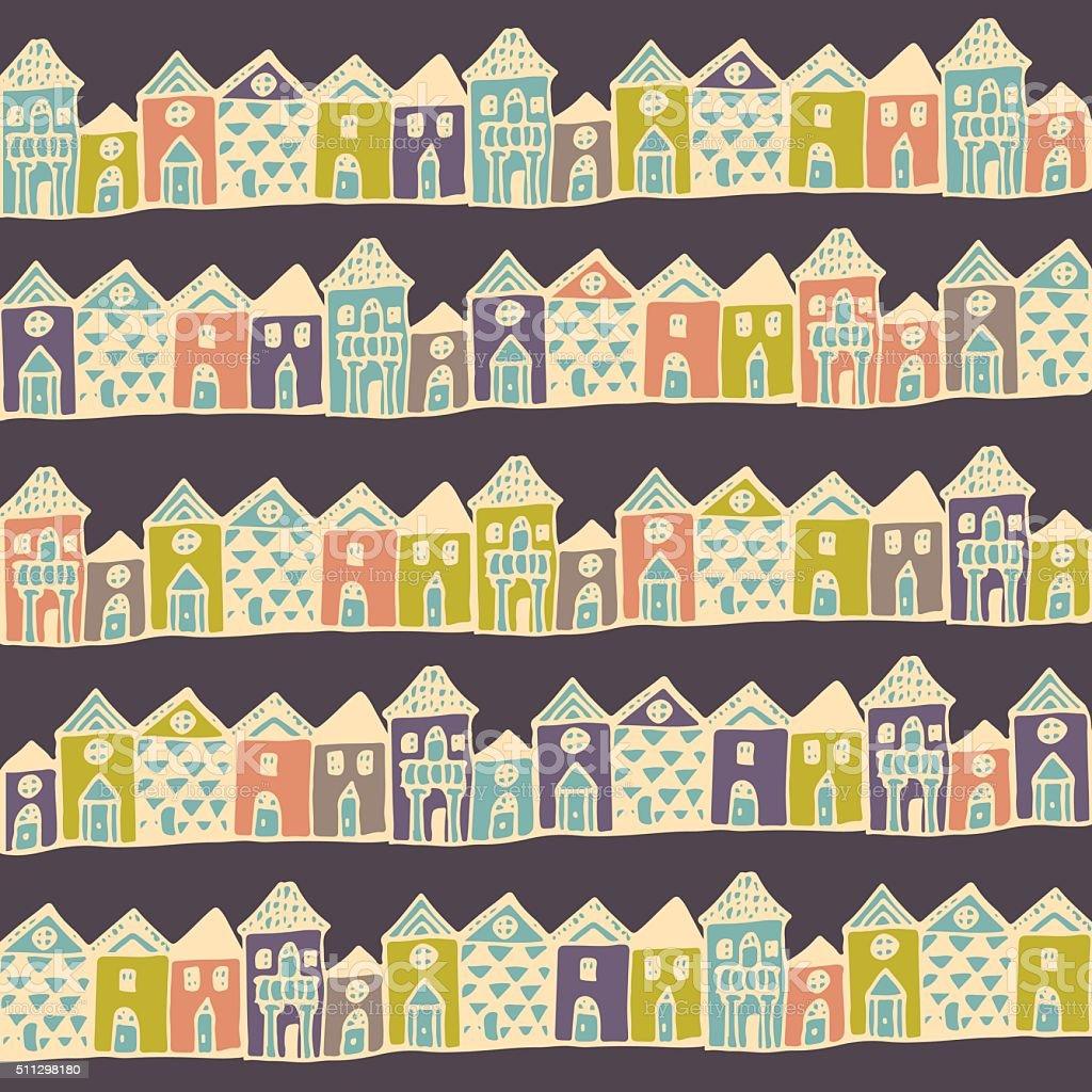 Cartoon europe houses streets. vector art illustration