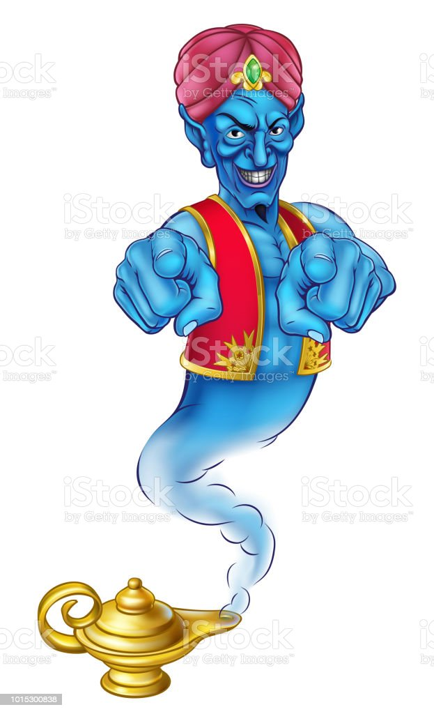 Cartoon Evil Genie Pointing vector art illustration