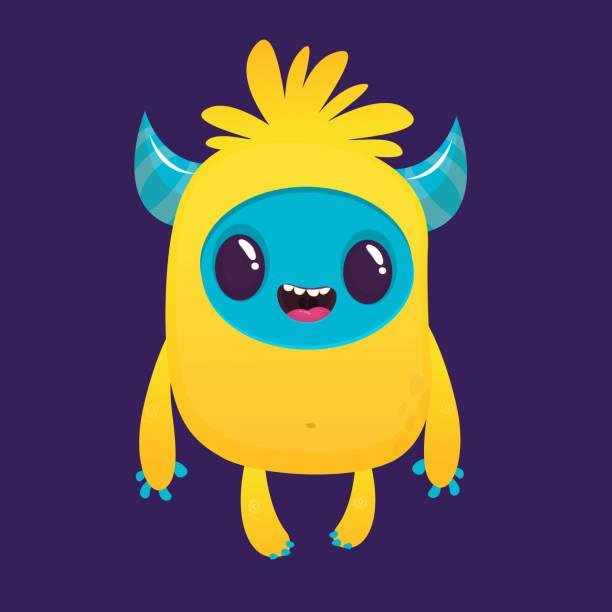 Cartoon aufgeregt gelbe Monster Charakter. Halloween-Vektor-illustration – Vektorgrafik