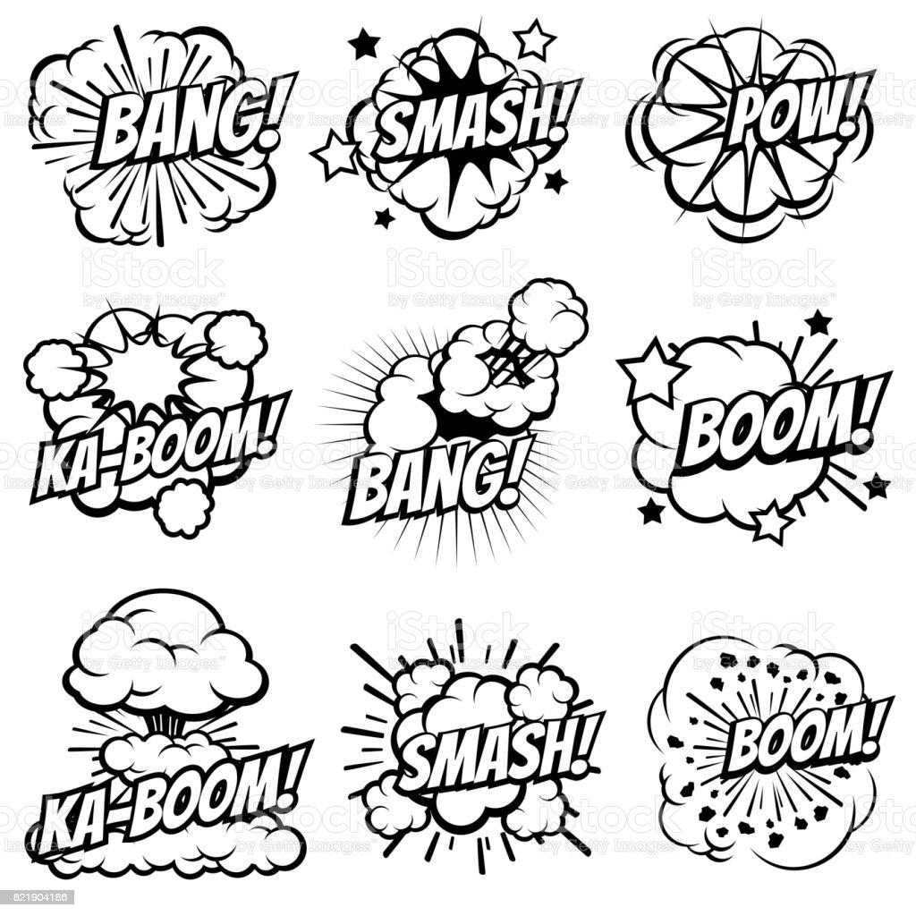 Cartoon Explodieren Symbole Comic Book Explosion Bläschen Popartbig