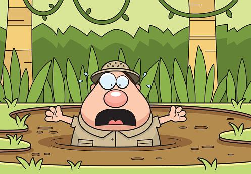 Cartoon Explorer Quicksand