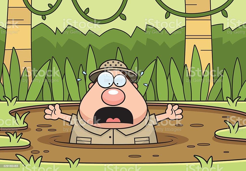Cartoon Explorer Quicksand vector art illustration