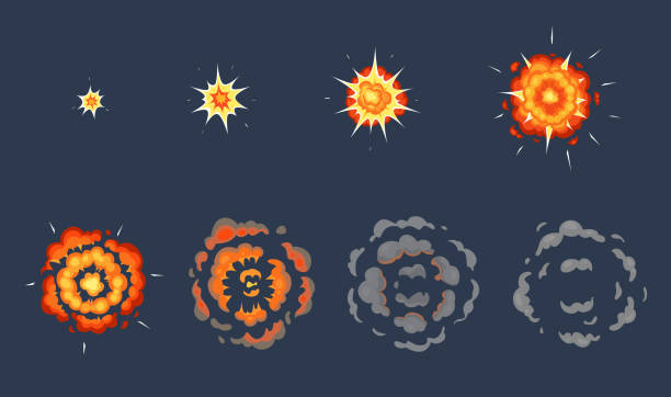 Cartoon explosion animation. Exploding effect frames, animated shot explode with smoke clouds vector illustration set Cartoon explosion animation. Exploding effect frames, animated shot explode with smoke clouds. Exploding fire, explosions dynamite bomb energy. Vector illustration isolated symbols set shooting a weapon stock illustrations