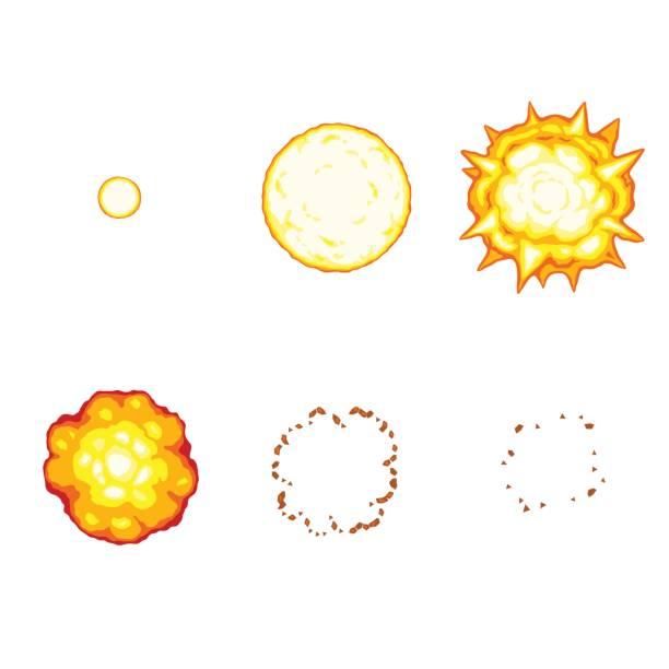 만화 폭발 애니메이션 스프라이트 흰색 배경에 고립 - gif stock illustrations
