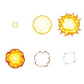 Cartoon explosion animation sprite isolated on white background