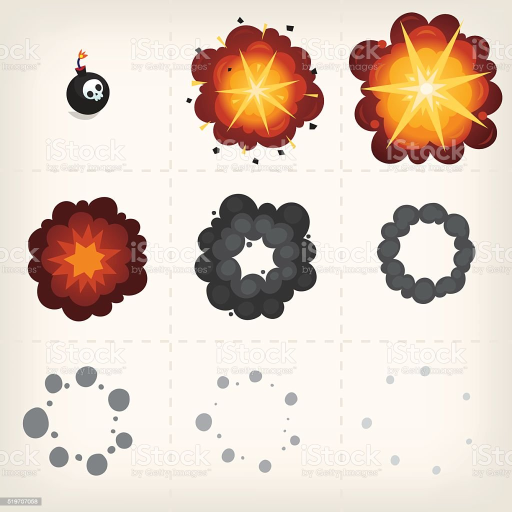 Cartoon explosion animation vector art illustration
