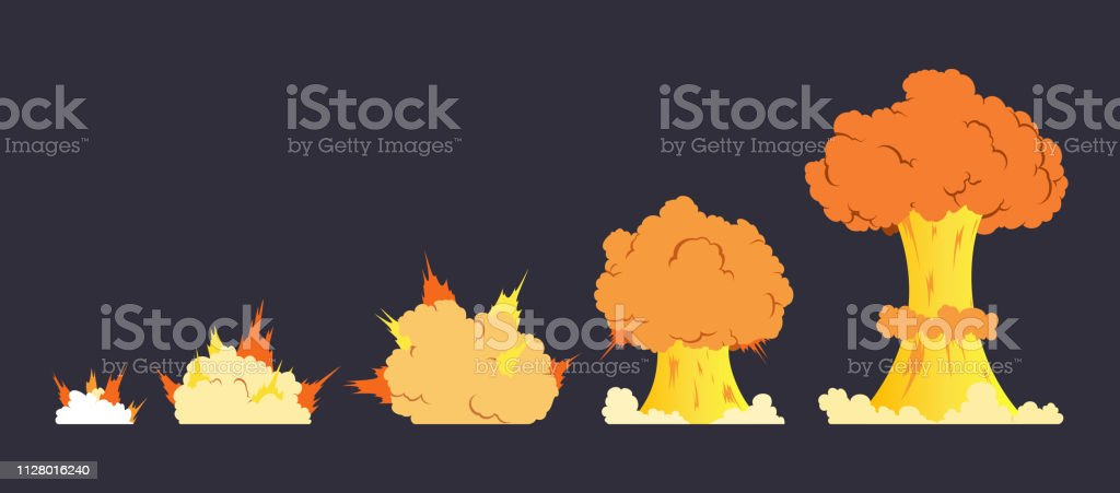 Cartoon Explosion Effect With Smoke Effect Boom Explode Flash Bomb