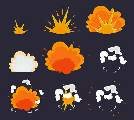 Cartoon explosion effect with smoke. Vector illustration EPS10