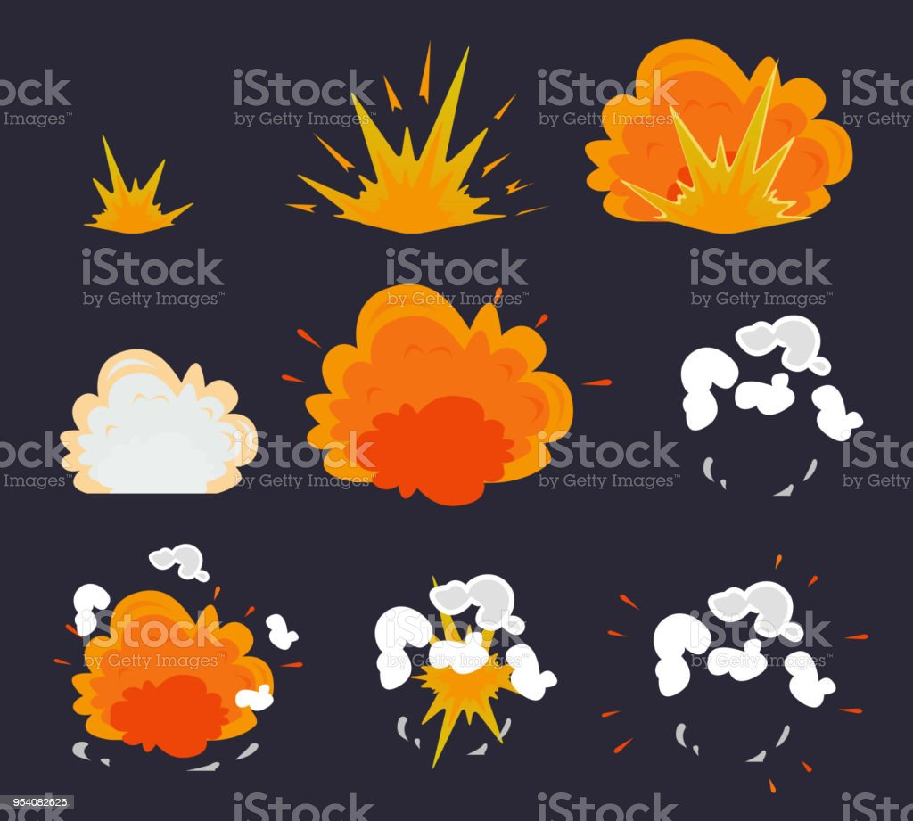 Cartoon explosion effect with smoke. Vector illustration EPS10 vector art illustration