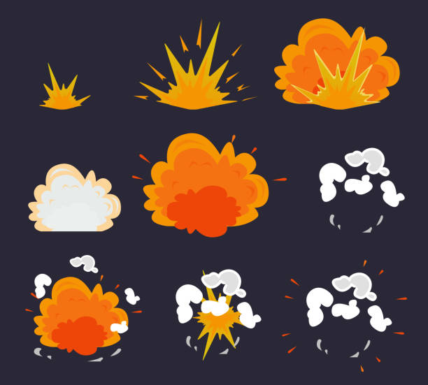 Cartoon explosion effect with smoke. Vector illustration EPS10 Cartoon explosion effect with smoke. Vector illustration EPS10 exploding stock illustrations