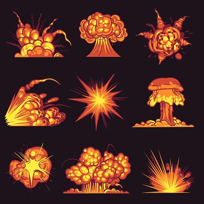 Cartoon explosions. Fire bang with smoke effect of explode dynamite. Danger explosive, bomb detonation atomic flash. Mobile game vector set
