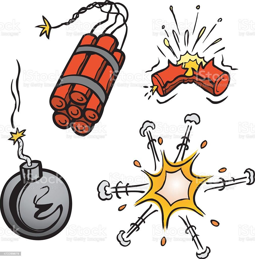 Cartoon Explosions vector art illustration