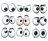 Cartoon expression eyes with different views. Illustration