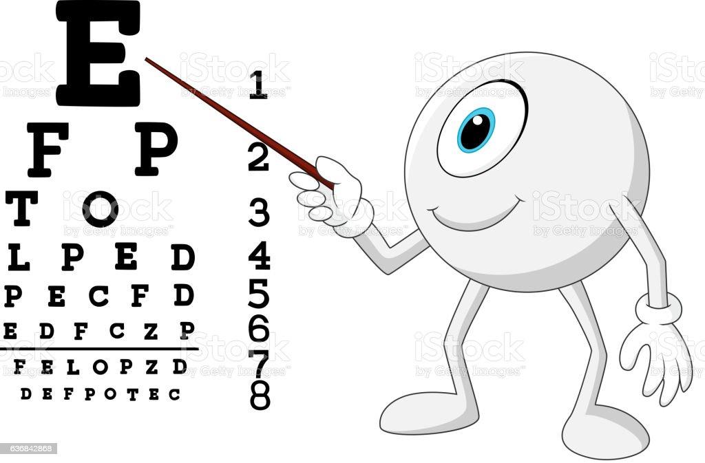 Cartoon eye ball optician pointing to Snellen chart vector art illustration