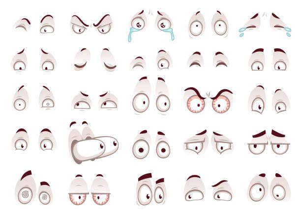 illustrazioni stock, clip art, cartoni animati e icone di tendenza di cartoon eyes. comic eye staring gaze watch, funny face parts vector isolated illustration set - espressione del viso