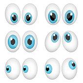 Beautiful vector design illustration of cartoon eyes isolated on white background