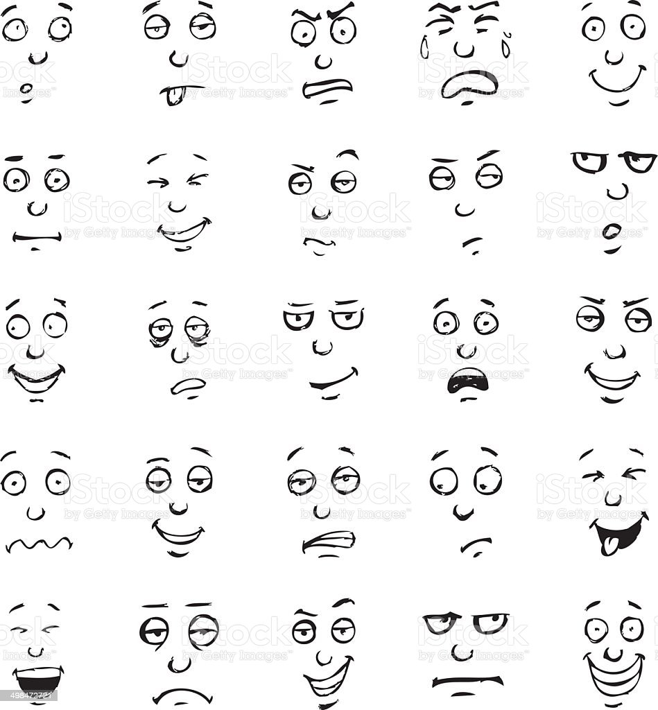 Cartoon face emotions hand drawn set vector art illustration