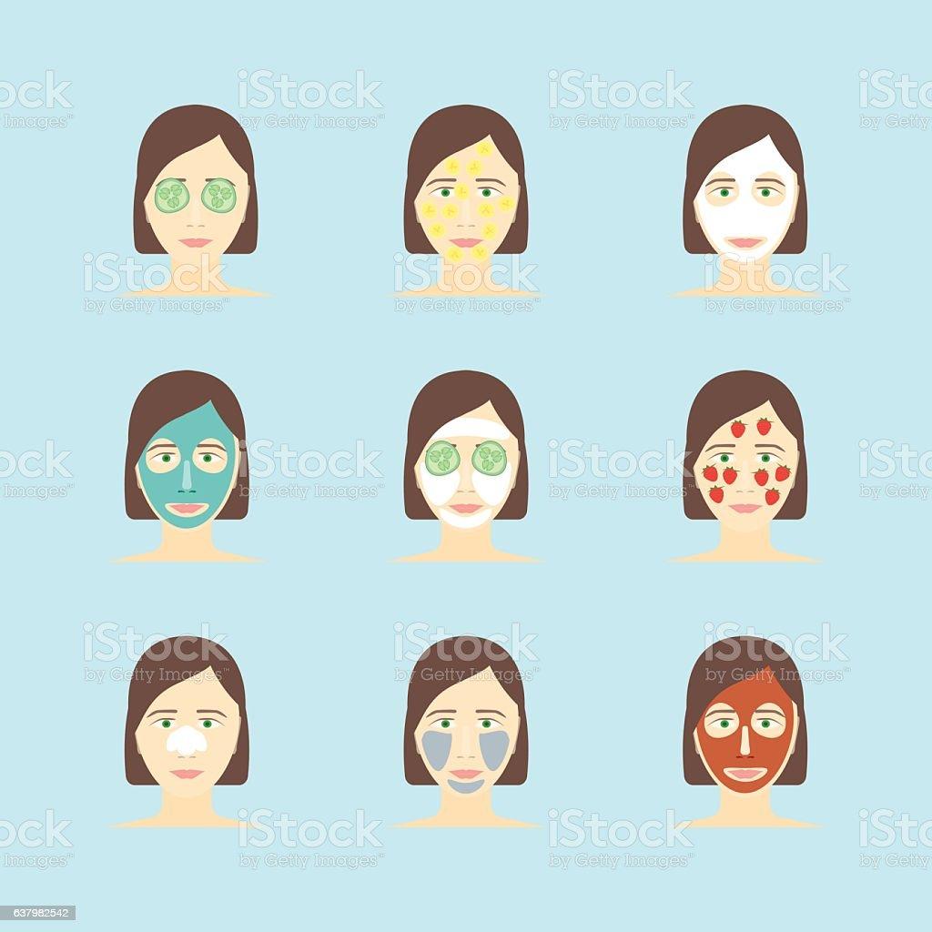 Cartoon Face Mask Skincare Set. Vector vector art illustration