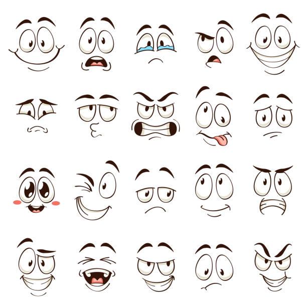 cartoon gesichter. karikatur komische emotionen mit unterschiedlichen ausdrücken. ausdrucksstarke augen und mund, lustige flache vektor-zeichen gesetzt - auge stock-grafiken, -clipart, -cartoons und -symbole