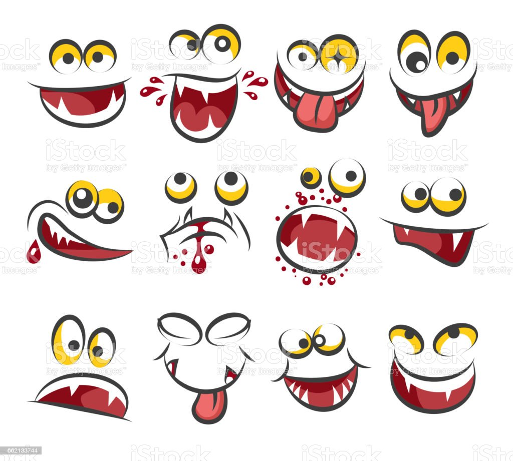 Cartoon faces emotions isolated on white background. Sketch cute face expression vector illustration vector art illustration