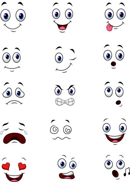 illustrazioni stock, clip art, cartoni animati e icone di tendenza di cartoon faces expressions collection set - lingua umana